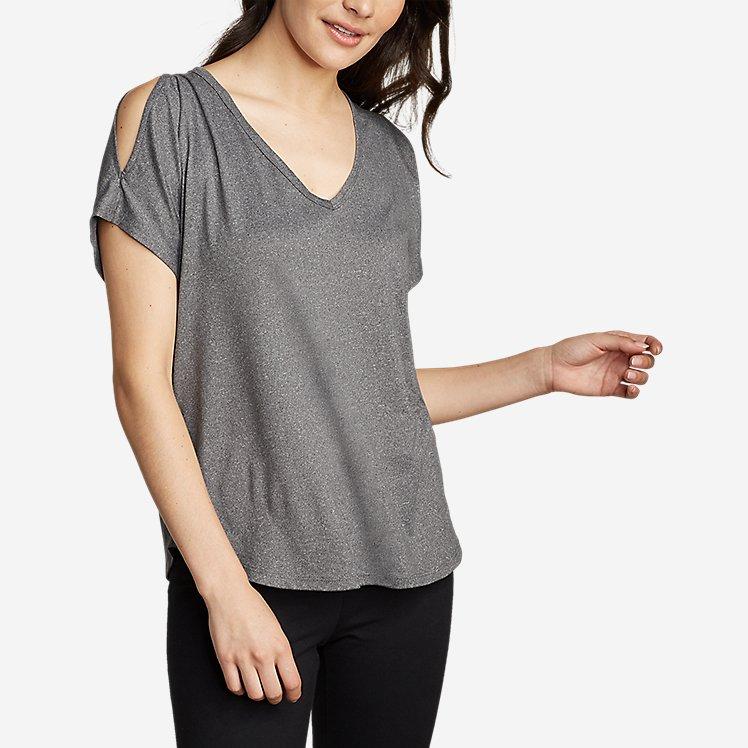 Women's Cold Shoulder V-Neck Top large version