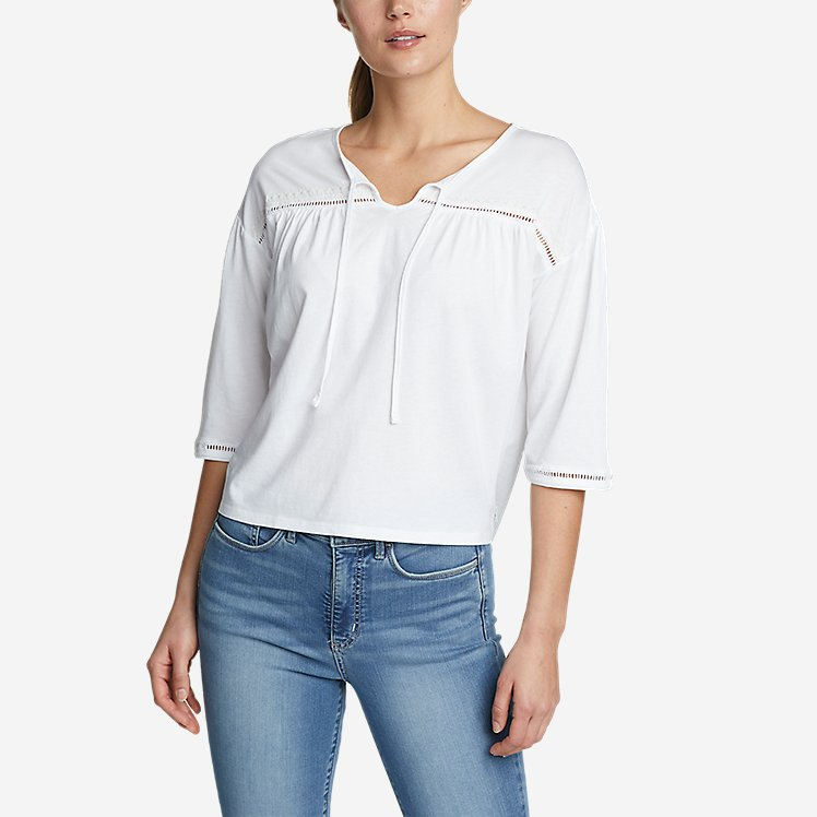 Women's Gate Check 3/4-Sleeve Embroidered Yoke Top large version