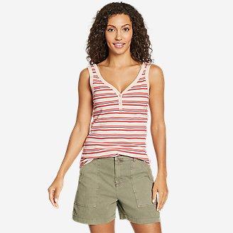 Thumbnail View 1 - Women's Favorite Henley Tank Top - Stripe