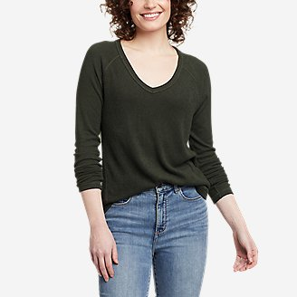 Thumbnail View 1 - Women's Mixed-Stitch Long-Sleeve V-Neck T-Shirt