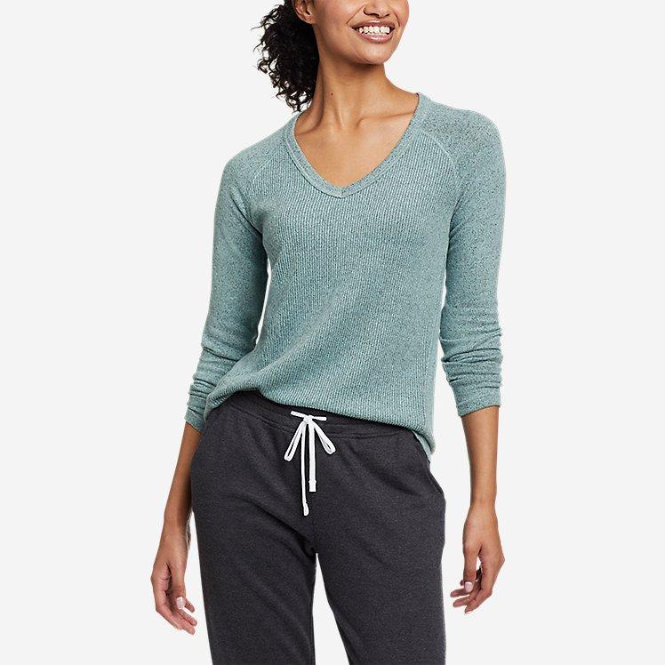 Women's Mixed-Stitch Long-Sleeve V-Neck T-Shirt large version