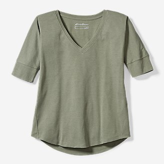 Thumbnail View 1 - Women's Favorite Short-Sleeve V-Neck Easy T-Shirt