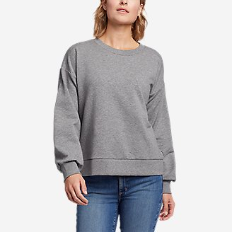 Thumbnail View 1 - Women's Cozy Camp Puff-Sleeve Sweatshirt