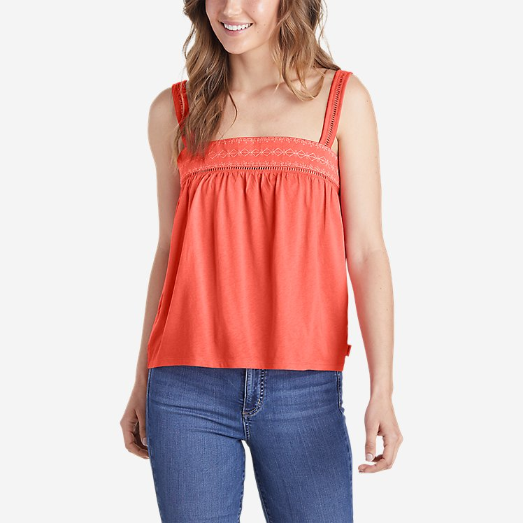 Women's Gate Check Embroidered Square-Neck Tank Top large version