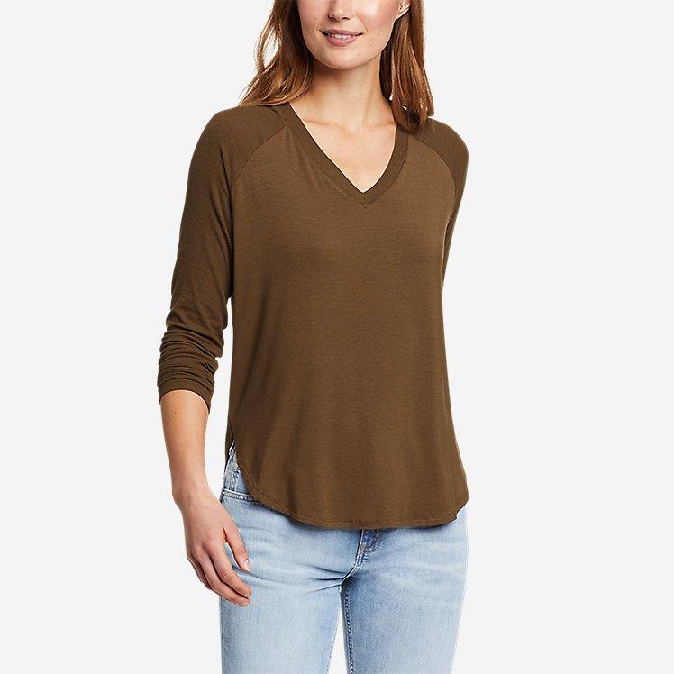 Women's Soft Layer Long-Sleeve Mixed-Rib V-Neck T-Shirt large version