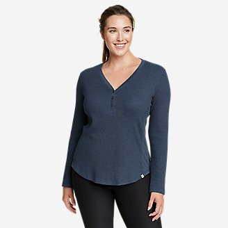 Thumbnail View 1 - Women's Myriad Thermal-Jersey Mix Henley