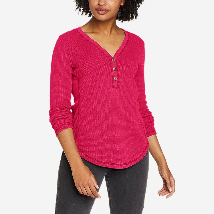 Women's Myriad Thermal-Jersey Mix Henley large version