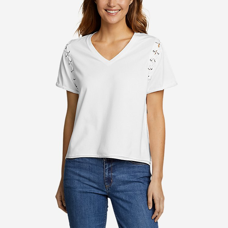 Women's V-Neck Lace-Up Sleeve Top large version
