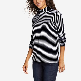 Thumbnail View 1 - Women's Favorite Long-Sleeve Mock-Neck T-Shirt - Stripe