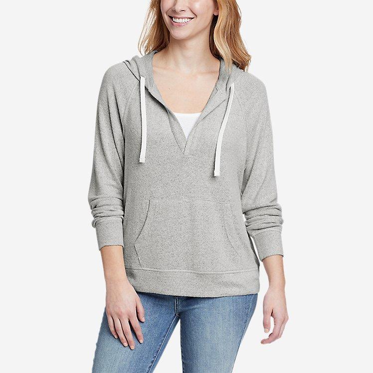 Women's Brushed Jersey V-Neck Hoodie large version