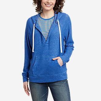 Thumbnail View 1 - Women's Brushed Jersey V-Neck Hoodie