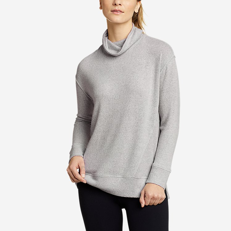Women's Mixed-Stitch Long-Sleeve Funnel-Neck large version