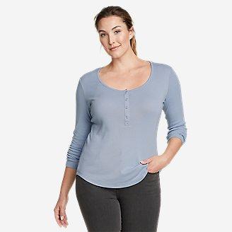 Thumbnail View 1 - Women's Favorite Long-Sleeve Henley T-Shirt