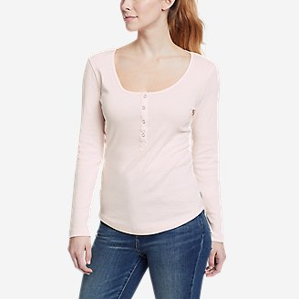 Thumbnail View 1 - Women's Favorite Long-Sleeve Henley T-Shirt