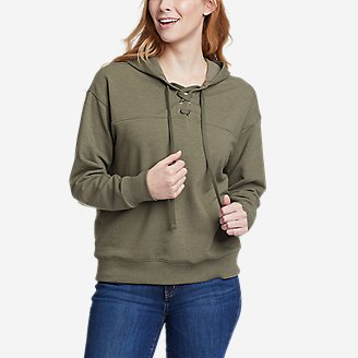 Thumbnail View 1 - Women's Cozy Camp Front Lace-Up Sweatshirt