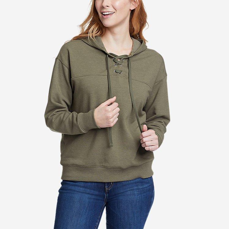 Women's Cozy Camp Front Lace-Up Sweatshirt large version