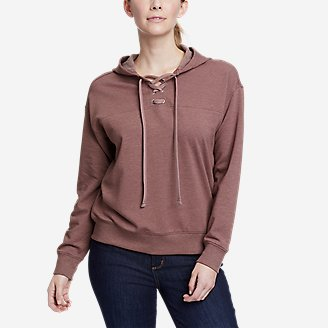 Thumbnail View 1 - Women's Cozy Camp Front Lace-Up Sweatshirt