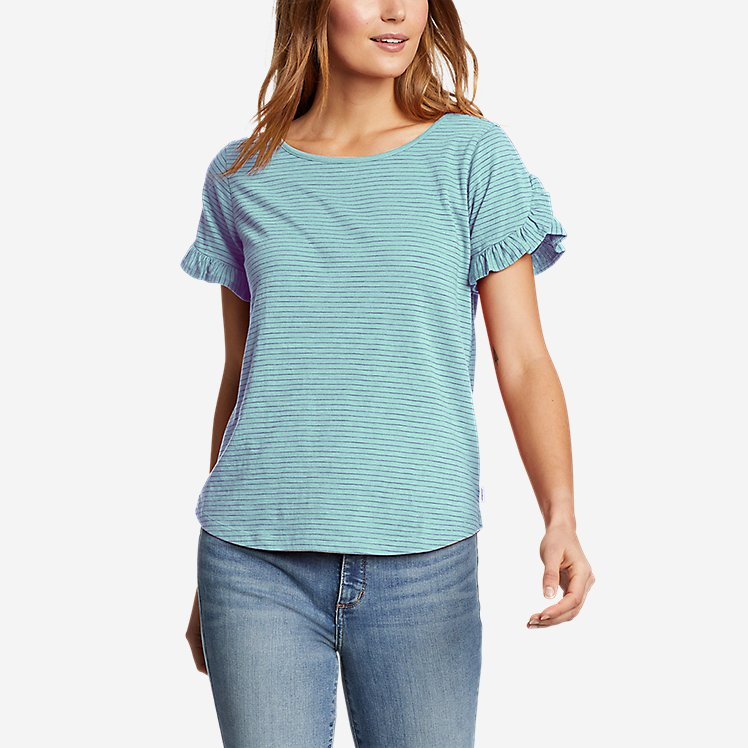 Women's Sunwashed Striped Ruffle-Sleeve T-Shirt large version