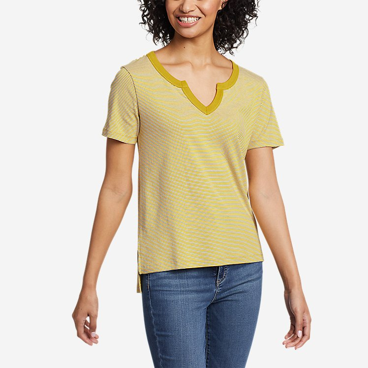 Women's Favorite Short-Sleeve Notch-Neck T-Shirt - Stripe large version