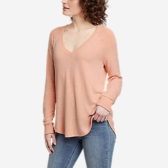 Thumbnail View 1 - Women's Brushed Jersey V-Neck Top