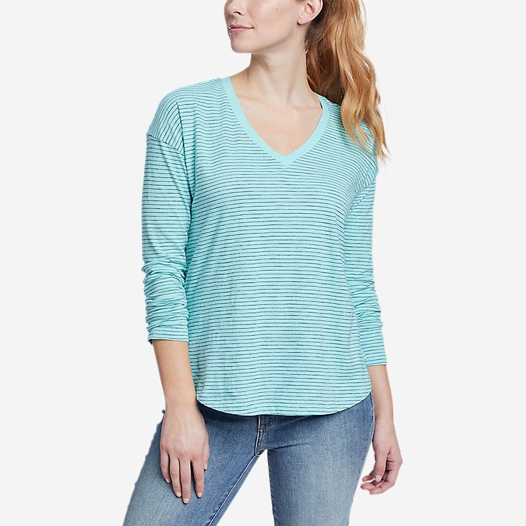 Women's Sunwashed Striped V-Neck T-Shirt large version