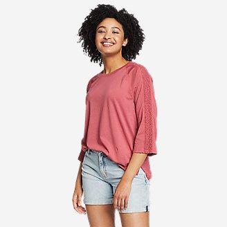Thumbnail View 1 - Women's Ophelia 3/4-Sleeve Crochet T-Shirt