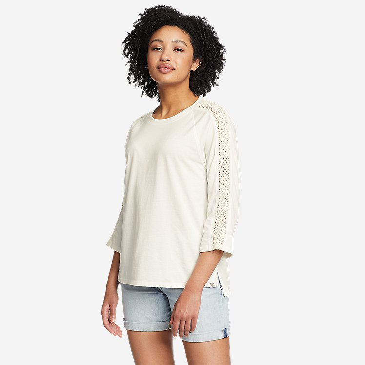 Women's Ophelia 3/4-Sleeve Crochet T-Shirt large version