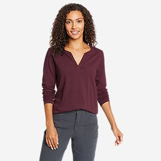 Thumbnail View 1 - Women's Ophelia Long-Sleeve Notch-Neck T-Shirt
