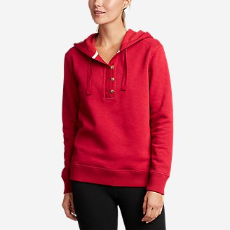 Thumbnail View 1 - Women's Brushed Fleece Hooded Pullover