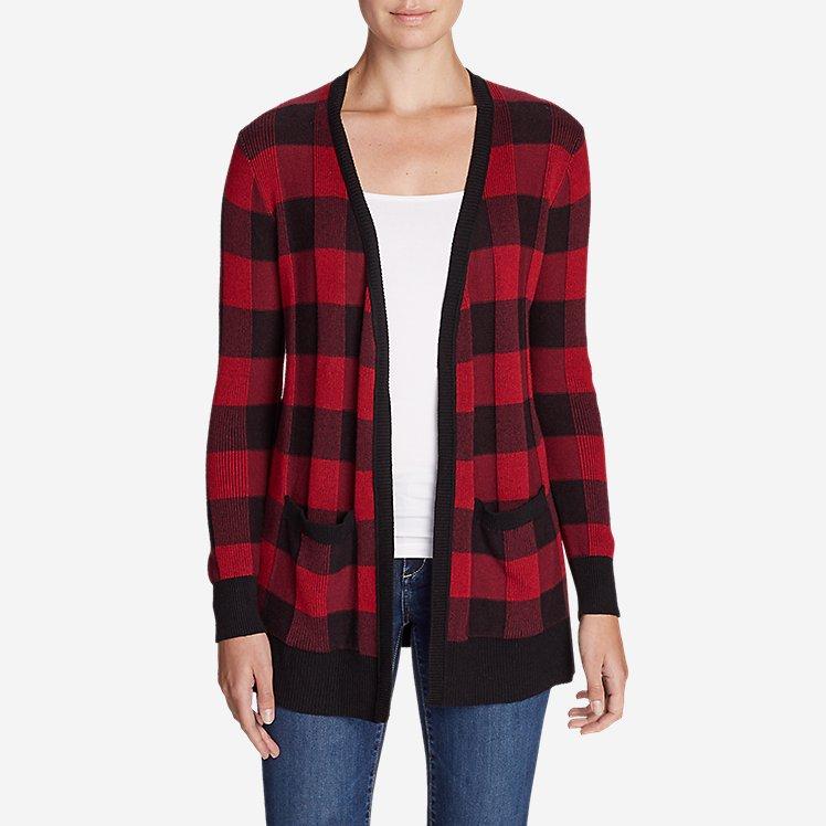 Women's Christine Boyfriend Cardigan Sweater - Plaid large version