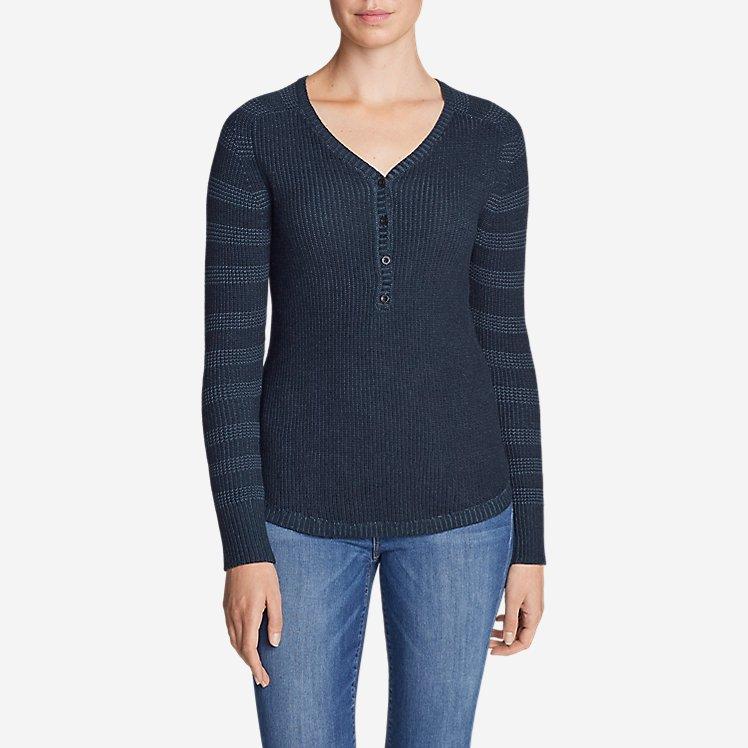 Women's Sweatshirt Sweater Henley - Stripe large version