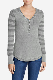 Women's Sweatshirt Sweater Henley - Stripe