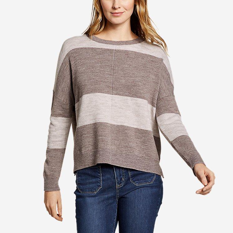 Women's Easy Crewneck Sweater - Stripe large version