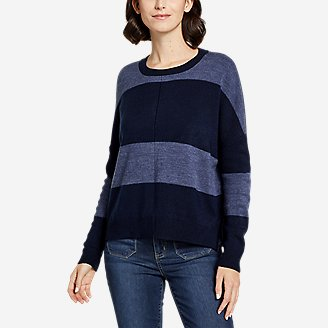 Thumbnail View 1 - Women's Easy Crewneck Sweater - Stripe