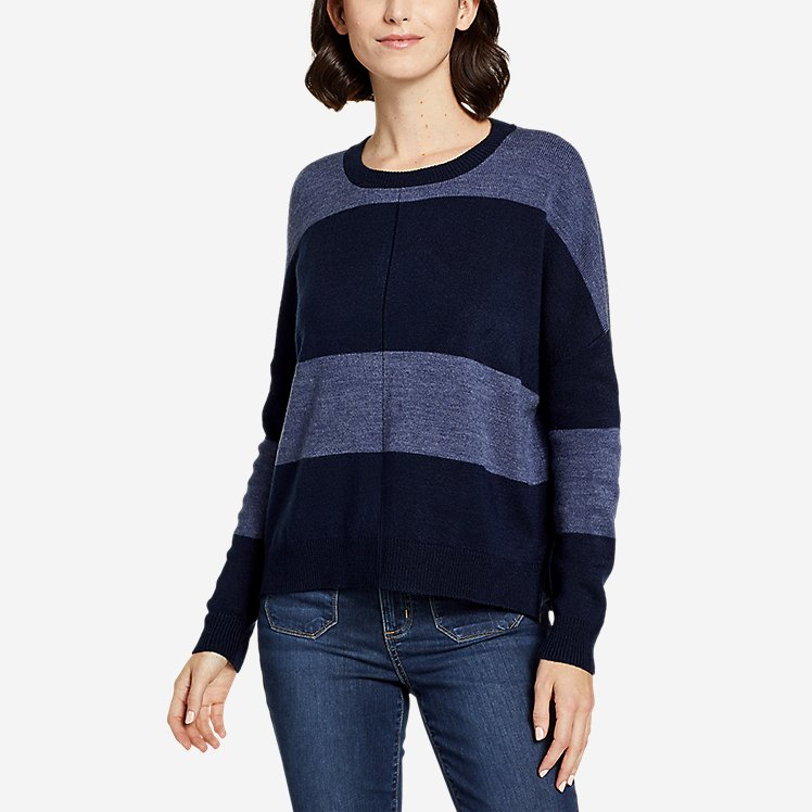Women's Easy Crewneck Sweater - Stripe large version