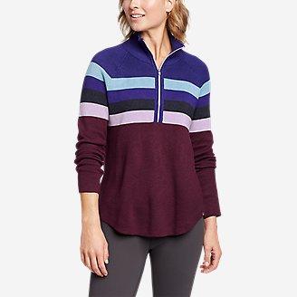 Thumbnail View 1 - Women's Engage Stripe 1/4-Zip Sweater