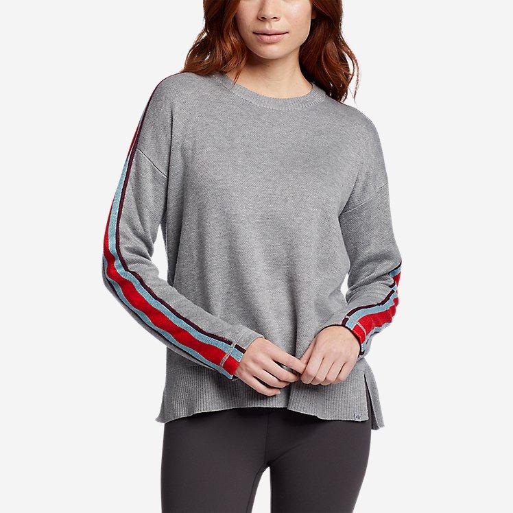 Women's Engage Stripe-Sleeve Crewneck Sweater large version