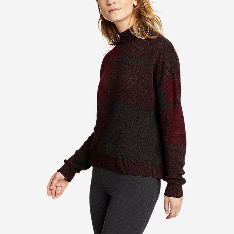 Women's Plaid Mock-Neck Pullover Sweater large version