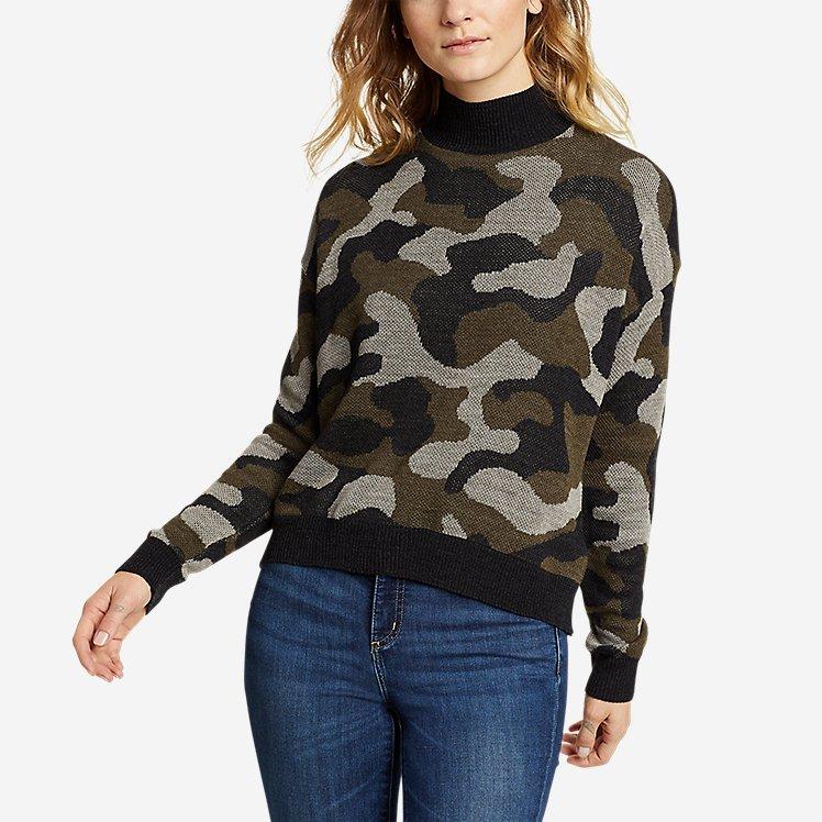 Women's Camo Mock-Neck Pullover large version
