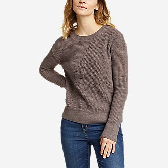 Thumbnail View 1 - Women's Mixed-Stitch Asymmetrical Pullover Sweater