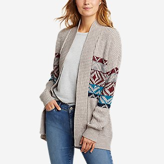 Thumbnail View 1 - Women's Geo Printed Cardigan Sweater