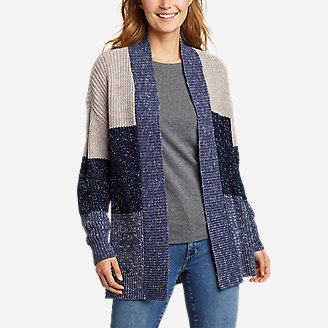 Thumbnail View 1 - Women's Color-Blocked Cardigan Sweater
