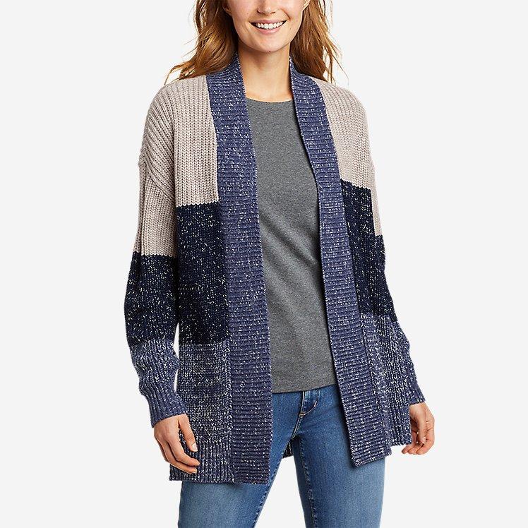 Women's Color-Blocked Cardigan Sweater large version