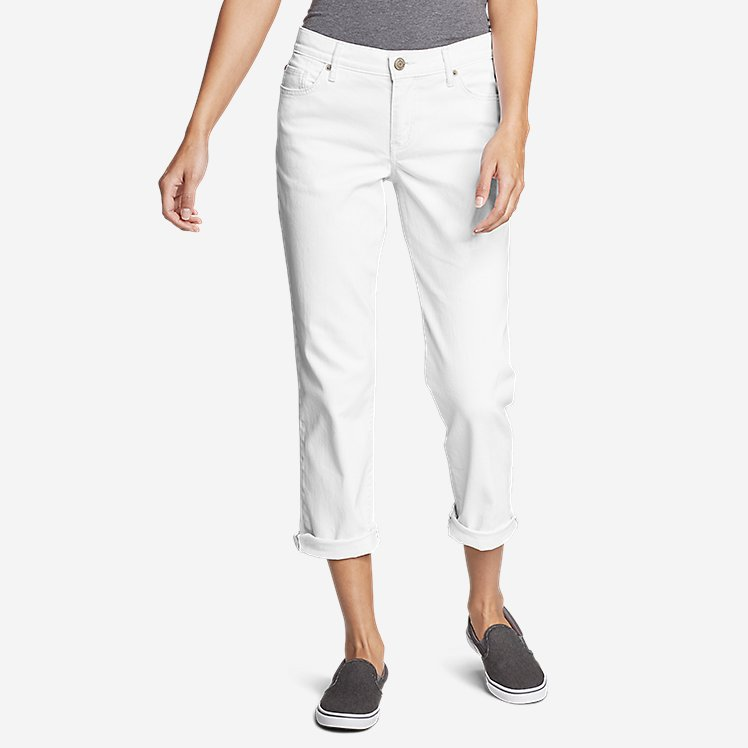 Women's Boyfriend Cropped Jeans - White large version
