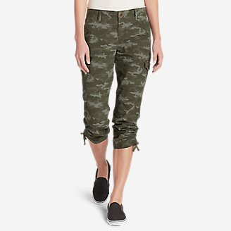 Thumbnail View 1 - Women's Adventurer® Stretch Ripstop Cropped Cargo Pants - Camo - Slightly Curvy