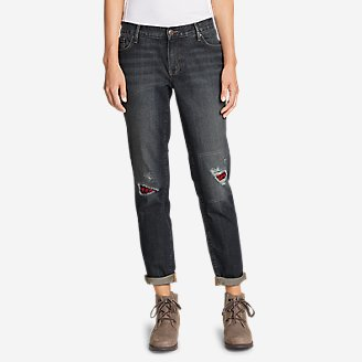 Thumbnail View 1 - Women's Boyfriend Flannel-Patch Jeans
