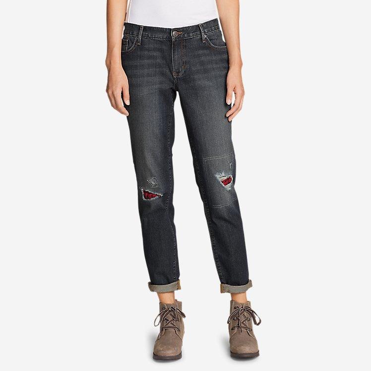 Women's Boyfriend Flannel-Patch Jeans large version