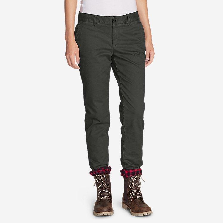 Women's Stretch Legend Wash Flannel-Lined Pants - Boyfriend large version