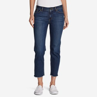 Thumbnail View 1 - Women's Elysian Slim Straight Crop Jeans - Raw Edge