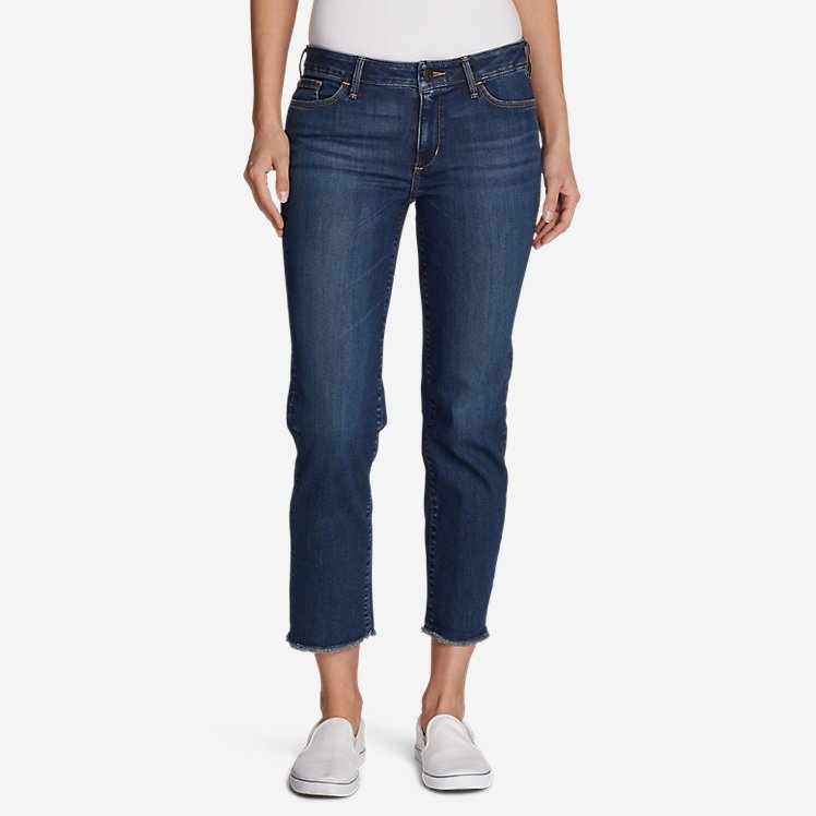 Women's Elysian Slim Straight Crop Jeans - Raw Edge large version